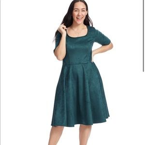 Melissa Masse Hunter Green Fit & Flare Dress Med